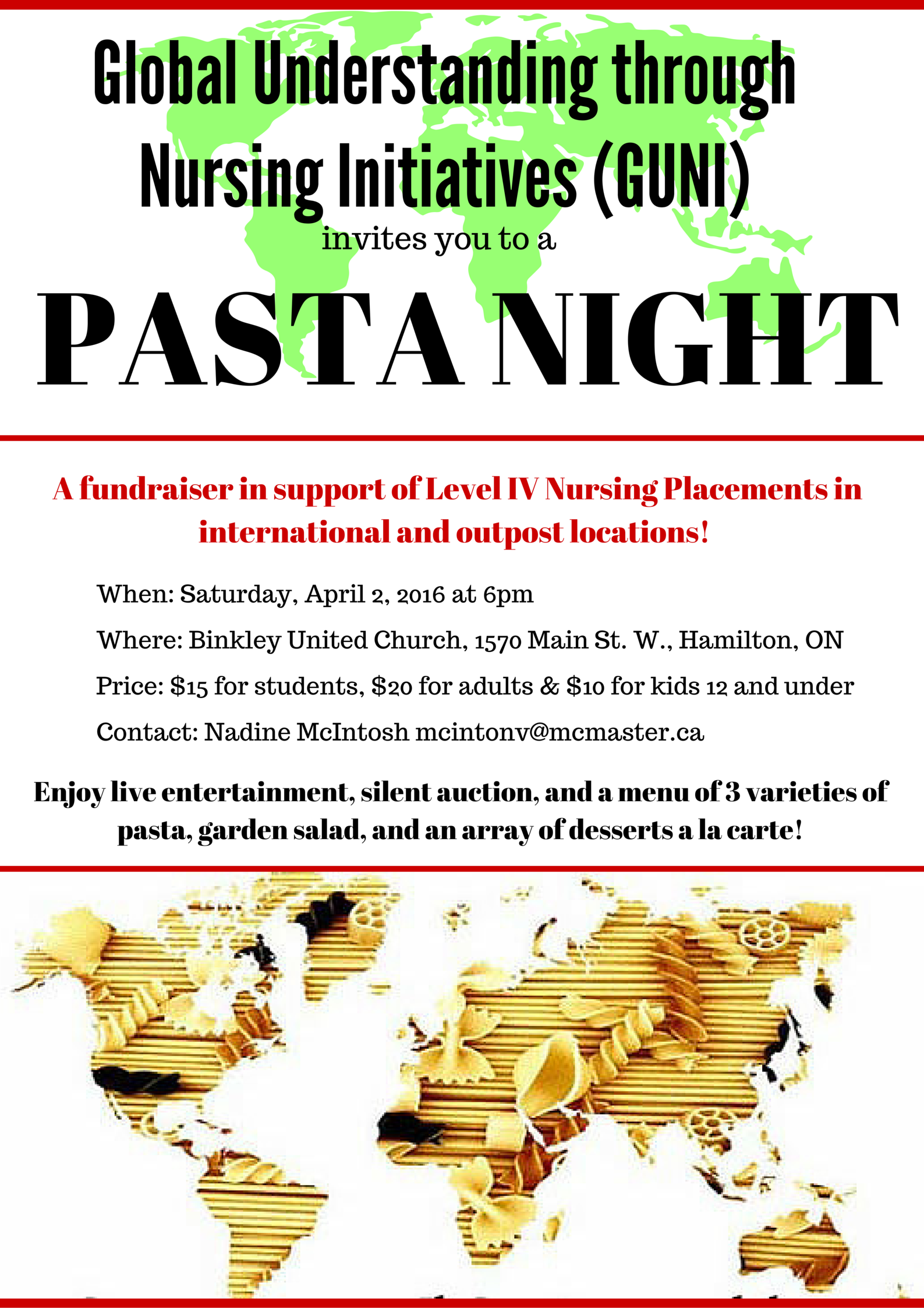 GH Pasta Night 2016 Poster